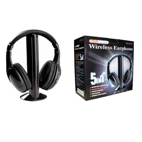 Fone De Ouvido Sem Fio Wireless 5 In 1 Mp3 Pc Tv Dvd Msn Mp3