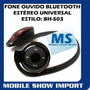Fone Ouvido Bluetooth Bh-503 Estéreo Ipod Ps3 Ps4 Xbox Skype