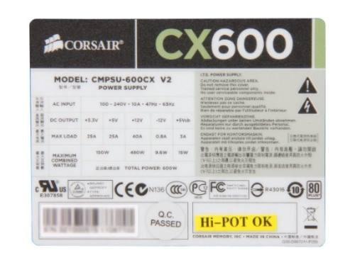 Fonte Corsair 600 W Builder Cmpsu-600cx V2 Pfc Ativo 600w