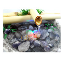 Fonte Bambu Feng Shui Meditação Ametista Pedra Água Luz Yoga