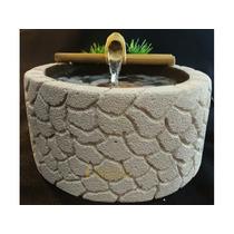 Fonte Água Bambu Concreto Pedra Celular Feng Shui Redonda