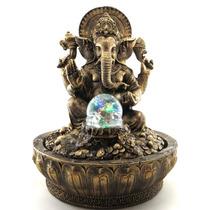 Fonte Água Ganesha Elefante Indiano Com Bola Giratória E Luz
