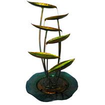 Fonte De Agua Cascata Decorativa Grande De Metal Folhas