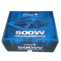 Fonte Atx 500w Reais Wise Case 24+4 Pinos 2 Sata