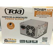 Fonte Atx 450w Tda 24+4 Pinos C/ Cabo De Força Bivolt