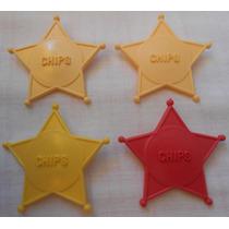 Estrela De Xerife Escrito Chips Em Plástico 5cm Bersil