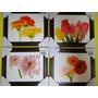 Lote De 04 Quadros Flores Tulipa Rosa Lirio Cravo Margarida