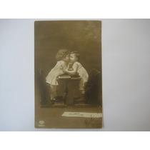 Foto Postal Antiga De Crianças 1913