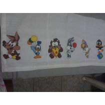 Fralda Pintada A Mão Baby Looney Tunes Com Bico De Crochê