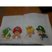 Fralda Pintada A Mão Super Mario Com Bico De Crochê