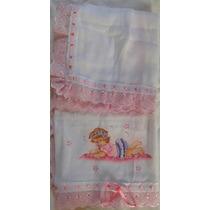 01 Fralda De Bebê Para Menina Com Borddado Inglês E Pintadas