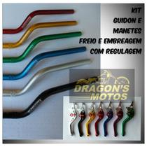 Guidão Moto Alumínio Cb300 E Manete Regulável Ajuste Cb 300
