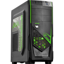 Gabinete Gamer Pcyes Java Green 2x Fan Usb3.0 Leitor Cartao