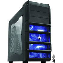 Gabinete Gamer Rhino Lateral Acrilico C/ Fan Led Azul Pcyes