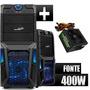 Gabinete Gamer Sentey Gs-6008 C/ Fonte Real 400w Zalman