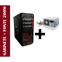 Gabinete Cpu Gamer Com 1 Cooler E Led Atx + Fonte 200w Real