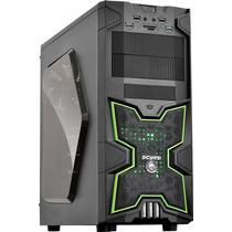 Gabinete Gamer Pcyes Fox Preto/verde C/ 2 Fan 120mm