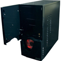Gabinete Gamer Cyclop Fortrek Black + Cooler Led Red + Visor