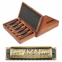 Kit Harmônicas Gaita De Boca Com 6 Vintage Harp 1923 Hering