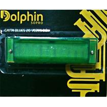 Gaita Blues Diatônica Dolphin Verde 20 Vozes Em C - Gu0013