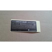 Adesivo Traseiro Para Game Boy Color