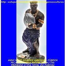Escultura Orixa Africano Ogum Linda Imagem 23cm Fabrica Ml