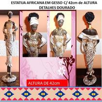 Estatueta Em Gesso Africana - Pintada A Mão Detalhes Dourado