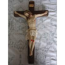 Imagem Gesso Crucifixo Parede 54cm Escultura Fino Acabamento