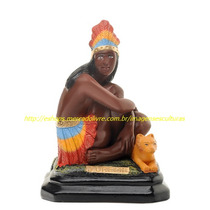 3 Escultura Imagem Jurema 40cm Busto Tupã 40cm Iemanja 30cm