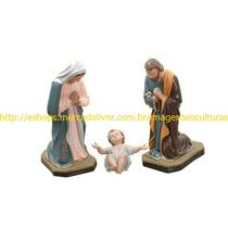 Presépio Natal Sagrada Familia 3 Peças Escultura De Até 40cm