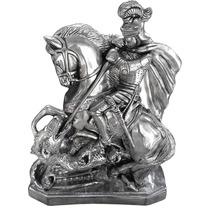 Escultura Estatueta Estatua São Jorge Cromada 60cm
