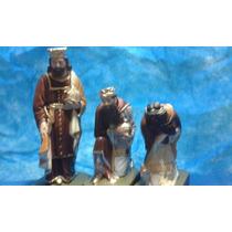 Tres Reis Magos Peças Presépio Imagem Gesso 20 Cm
