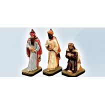 Tres Reis Magos Peças Presépio Imagem Gesso 30 Cm