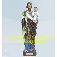 Escultura São José Com Menino Jesus Linda Imagem 40c Fabrica