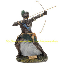 Escultura Orixa Africano Oxossi Imagem Arco E Flecha Metal