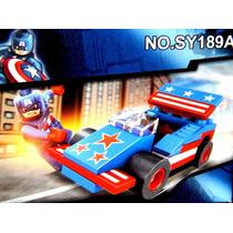 Capitao America + Carro + Manual Lego Heróis Avengers Marvel