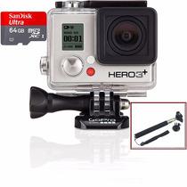 Go Pro Camera Hero 3+ Silver Full Wifi Hd Gopro +64gb+bastão