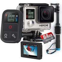 Kit Gopro Hero 4 Black+ Lcd + 64gb+ Controle Remoto+ Bastao
