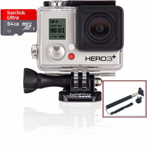Go Pro Camera Hero 3+ Silver Full Wifi Hd Gopro +64gb+bastão