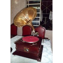 Gramofone A Corda + 10 Discos Rotação 78 + 20 Agulhas