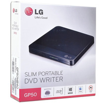 Gravador Externo Cd/dvd Portatil Lg Slim Gp50 Preto Liga Tv