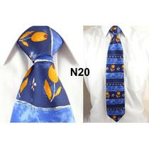Gravata Vintage Azul 100% Seda Pura Flor Estilo Francesa N20