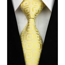 Gravata Seda Marfim Com Dourado Feita Mão Gvt 823