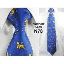 Gravata Vintage Retrô Seda Pura Cor Azul Do Signo Leão N78