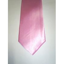 Kit C/ 10 Gravatas Masculinas Cor Rosa Claro - Poliéster
