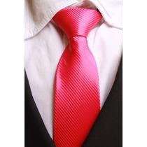 Gravata Semi Slim Trabalhada Semi Brilho Com Nó - Rosa Pink