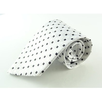 Gravata Branca E Preta 100% Seda Pura Modelo Jacquard - E83
