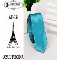 Gravata Slim Fit Azul Importada Poliéster Gravata Azul Slim