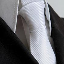 Gravata Branca Listrada Semi Slim Sem Nó