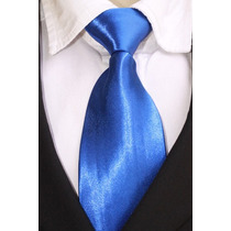 Gravata Tradicional Lisa Com Nó Brilhante - Azul Royal / Bic